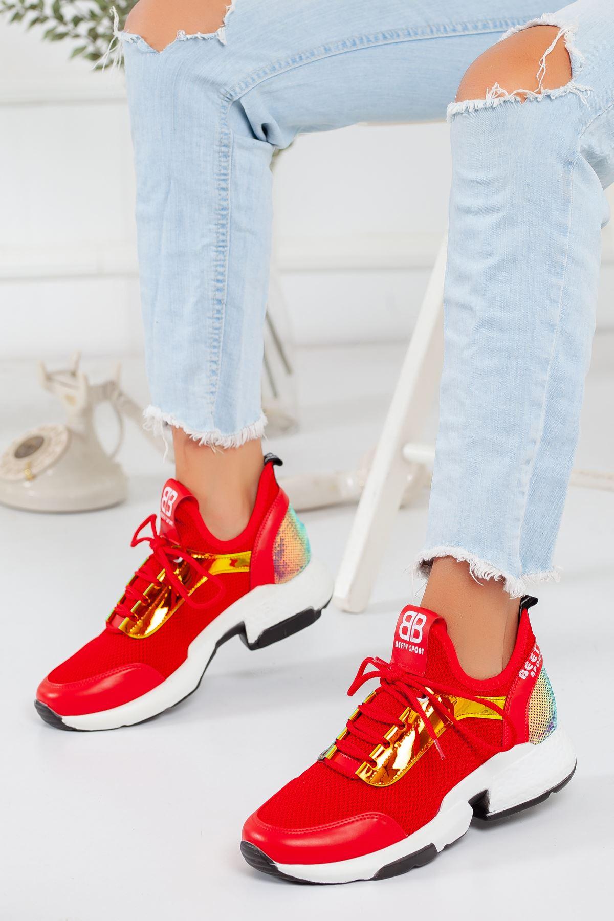 Hologram Detaylı Kırmızı Sneaker