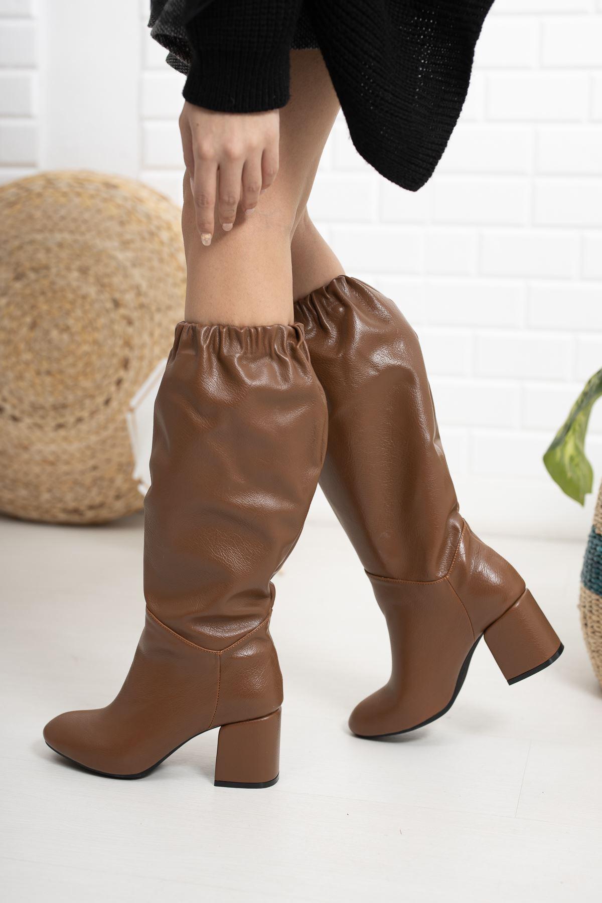 Taba Cilt Lastikli Dizaltı Topuklu Çizme