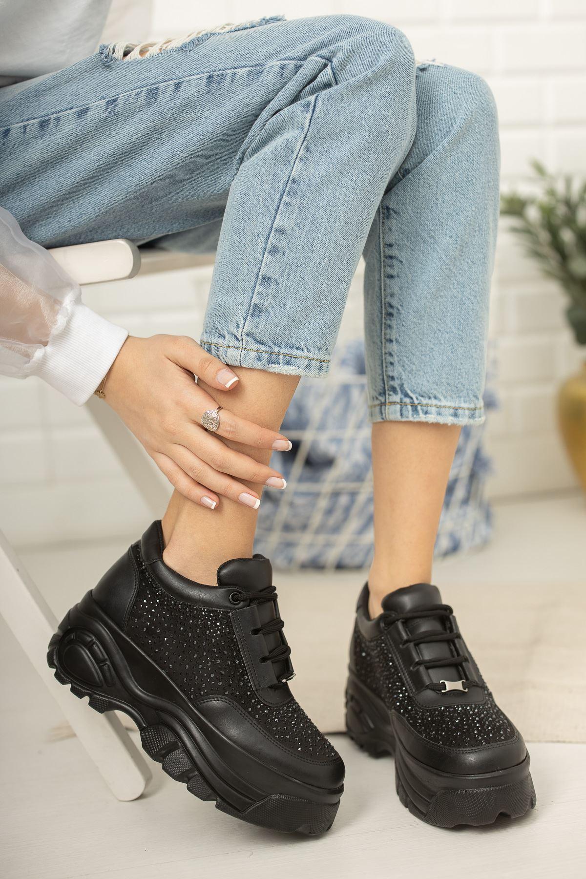 Siyah Taşlı Yüksek Taban Kadın Günlük Spor Ayakkabı