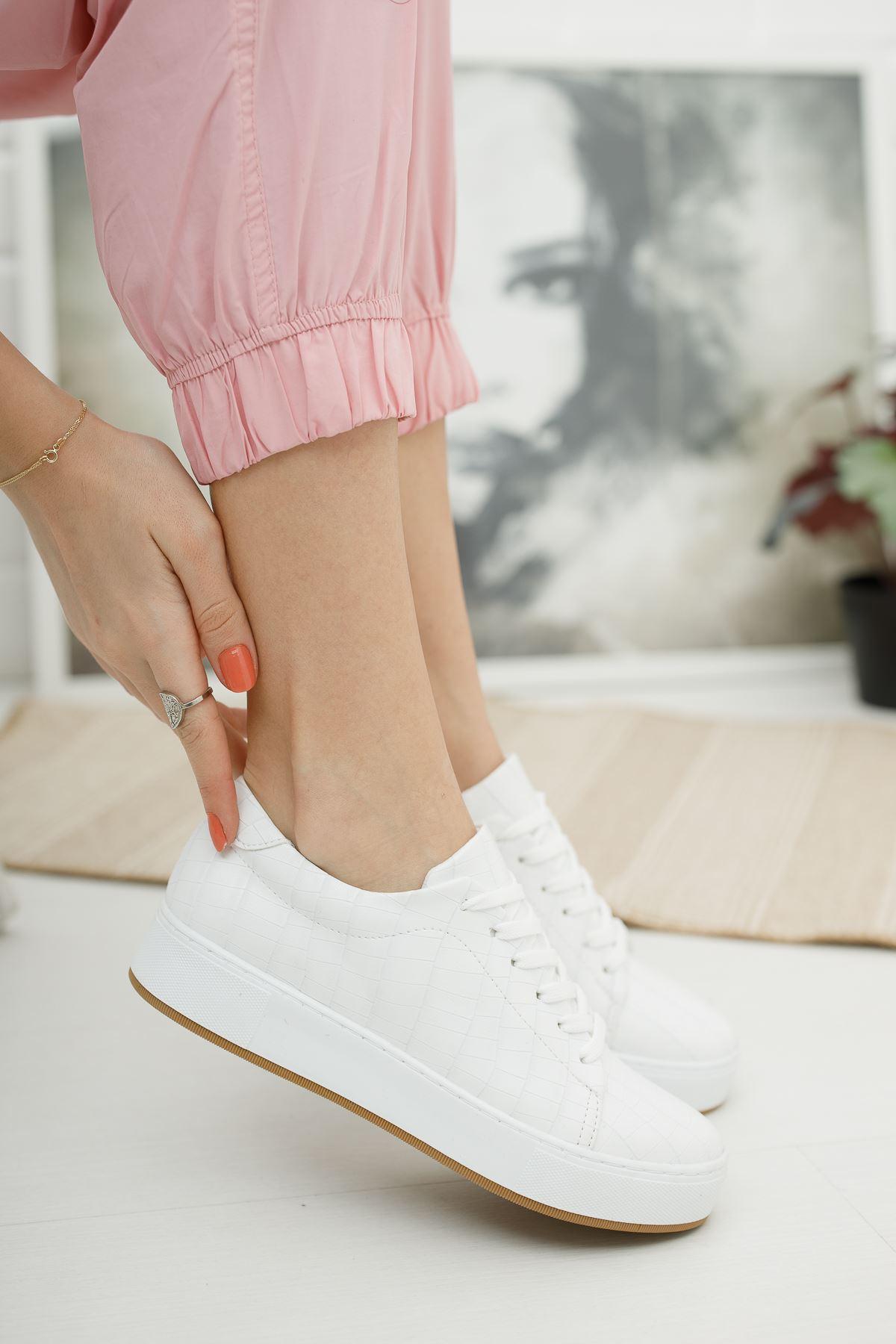 Düz Beyaz Kroko Günlük Spor Ayakkabı