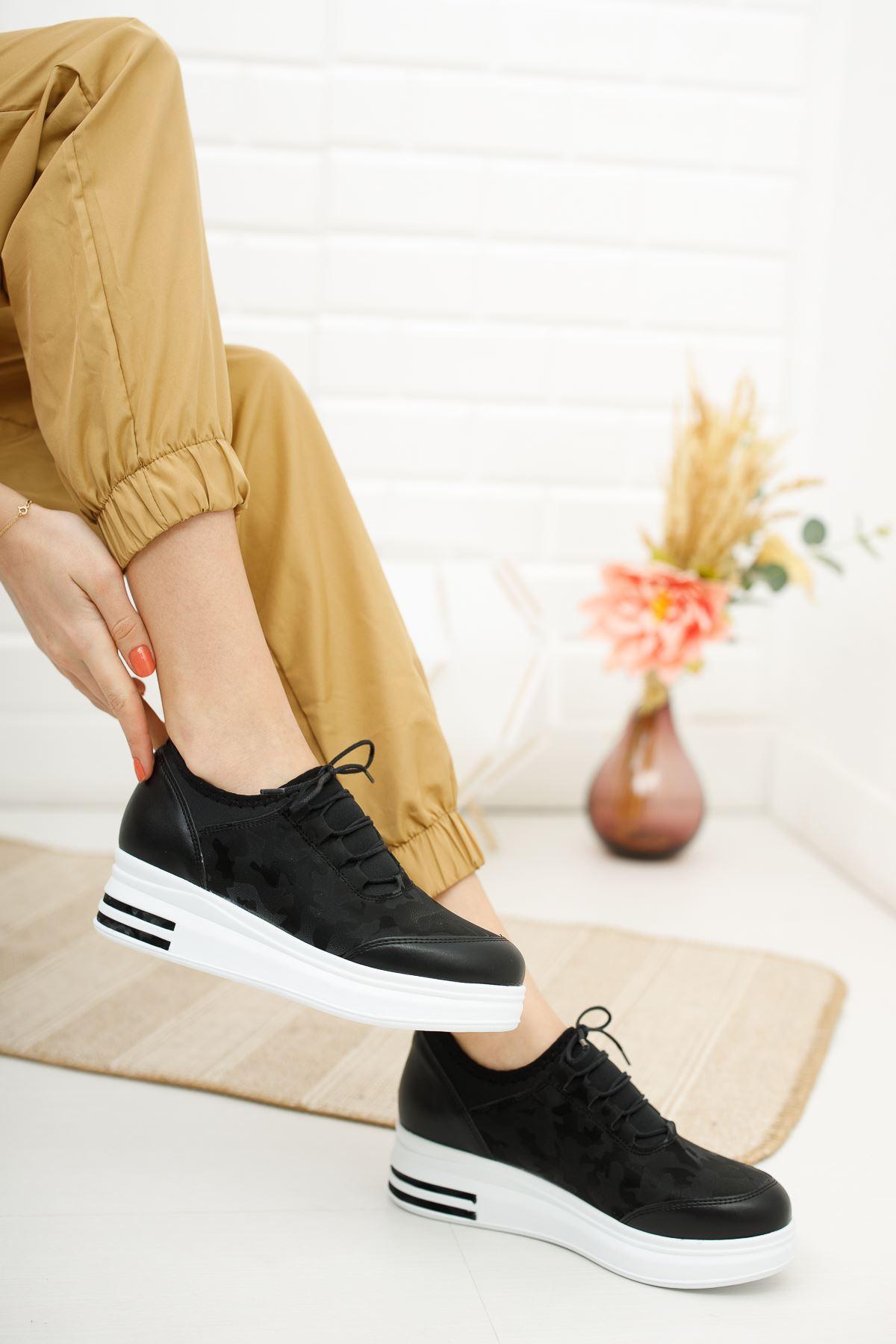 Siyah Kamuflaj Desen Beyaz Taban Günlük Spor Ayakkabı