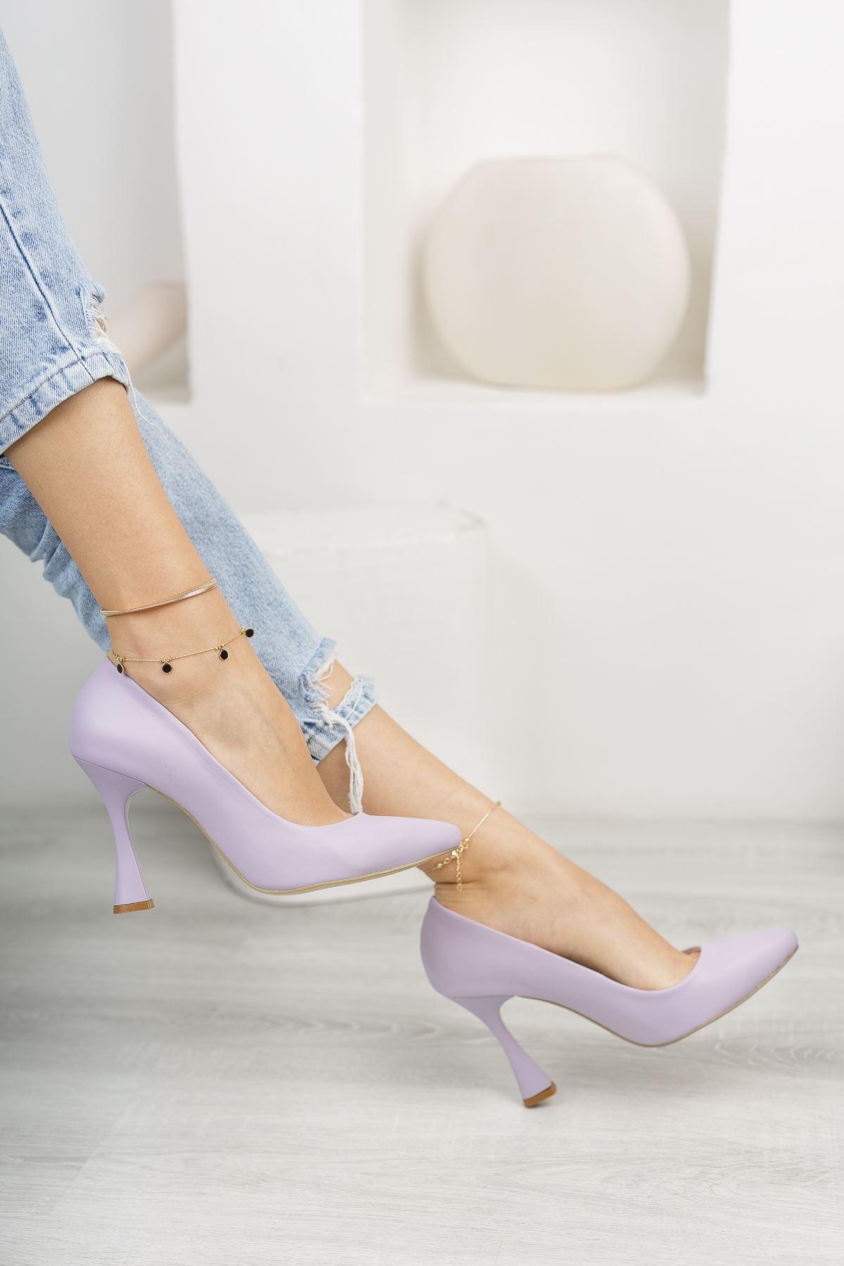 Lila Stiletto Topuklu Ayakkabı