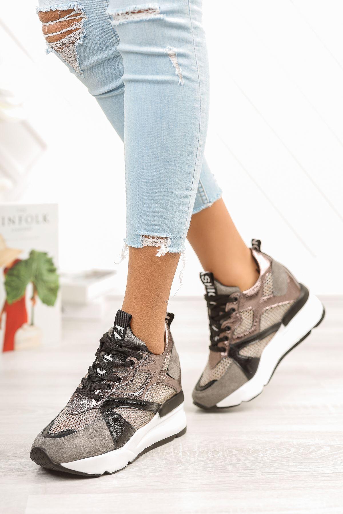 Platin File Detaylı Gizli Topuklu Spor Ayakkabı