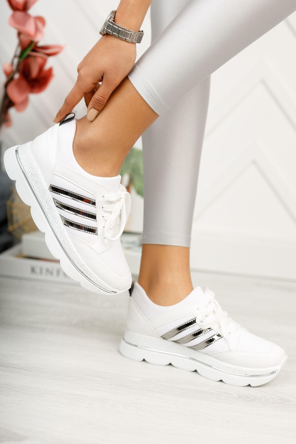 Beyaz Simli Taban Günlük Spor Ayakkabı