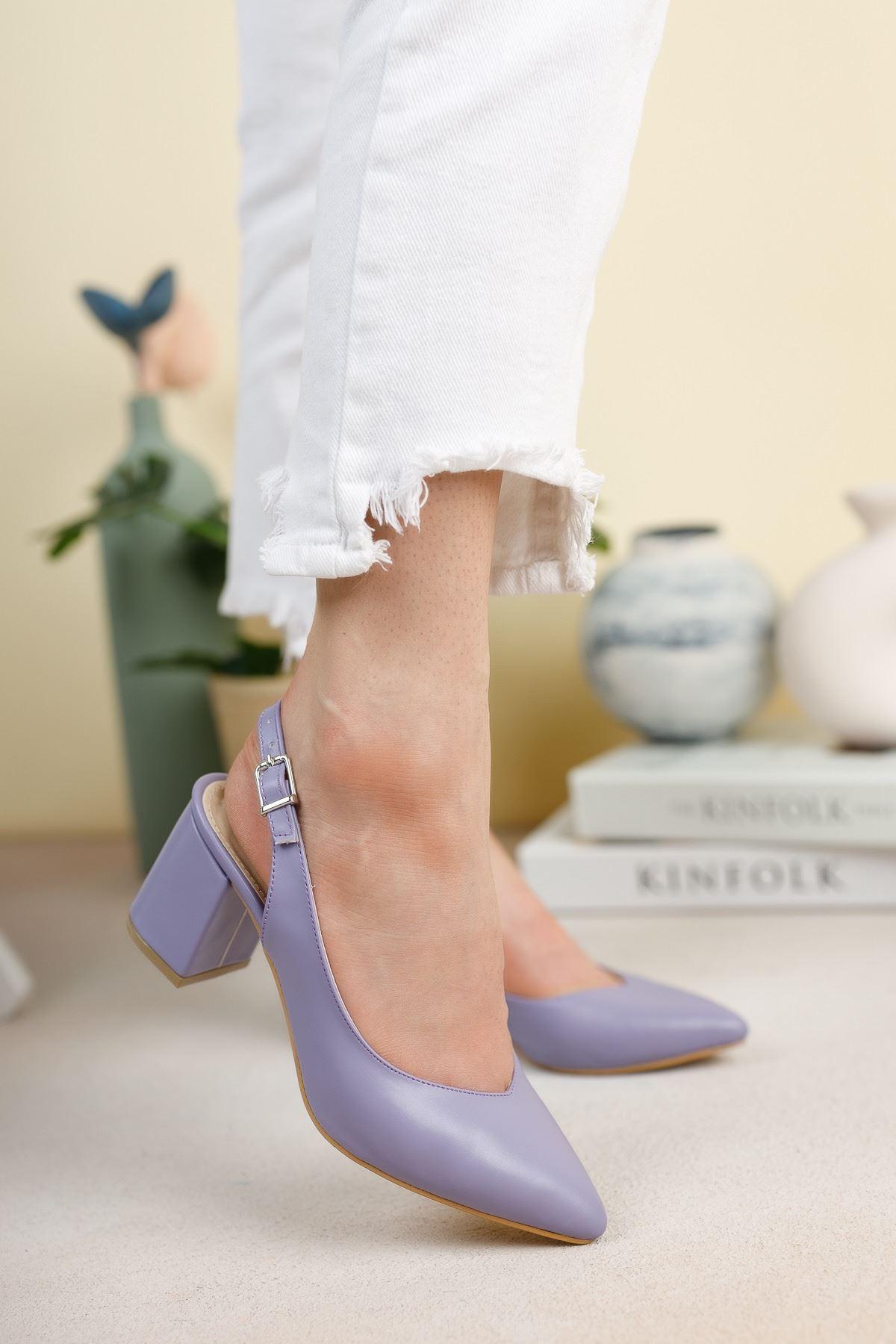 Lila Cilt Günlük Orta Topuklu Ayakkabı