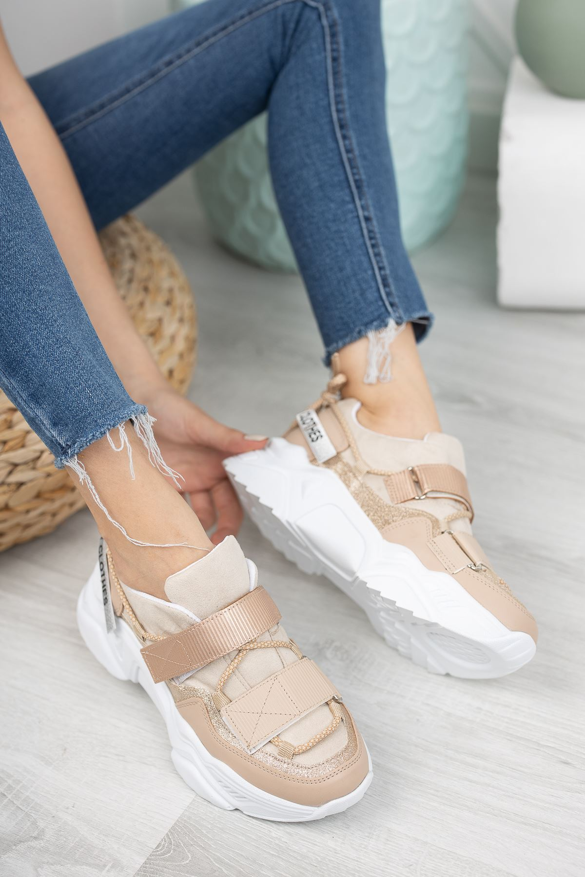 Nude Çift Cırtlı Sneaker