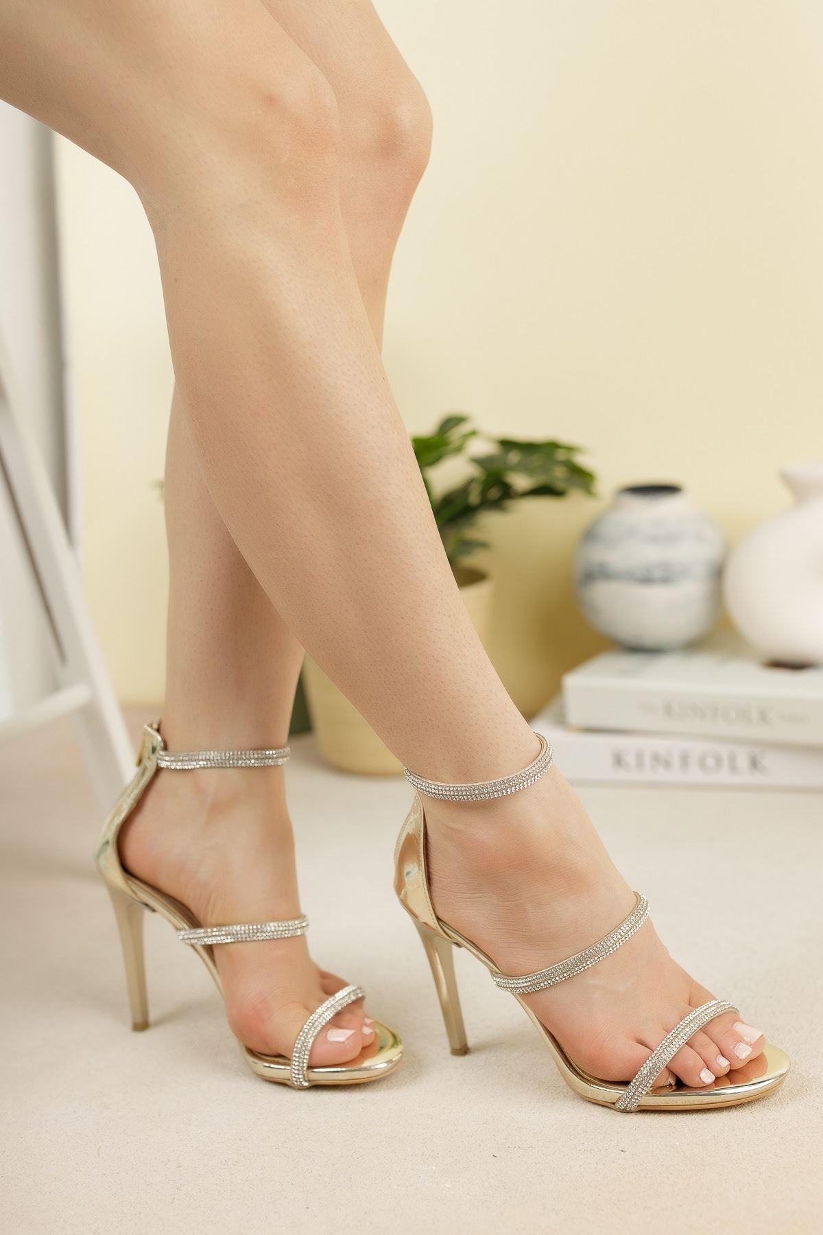 Altın Ayna Üç Biyeli Taşlı İnce Yüksek Topuklu Abiye Ayakkabı